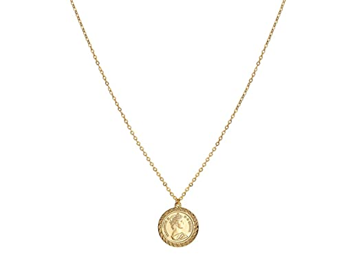 bc4df7999d65e ACC PLANET Coin Necklace 18K Gold Plated Queen Elizabeth II Vintage Disc  Circle Dainty Pendant Necklace for Women (0.78'')
