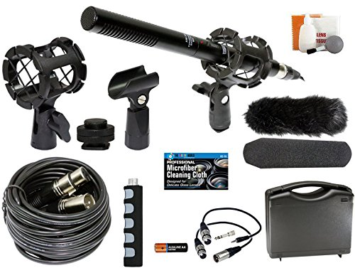 Pro Slr Accessory - Professional Advanced Broadcast Microphone and accessories Kit for Canon EOS DSLR 5D Mark II III 6D 7D 7D II 77D 80D 70D 60D T6s T7i T6i T5i T4i T3i SL1 Cameras