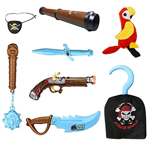 (Liberty Imports Kids Pirate Costume Accessories Role Play Set with Glow in The Dark Weapons, Pistol, Sword, Hook, and Parrot Shoulder)