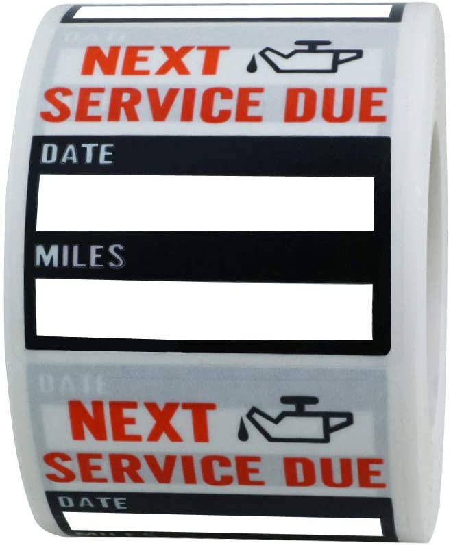 "Hybsk Clear Oil Change/Service Reminder Stickers 2""x2"" Premium Quality Oil Change Stickers 200 Labels on a Roll (Black)"