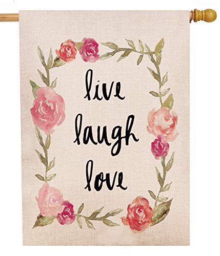 Dyrenson Decorative Outdoor Large House Flag Live Laugh Love Valentine's Day Holiday Rose Flower Quote, 28 x 40 Spring Summer Flag Floral Double Sided, Wreath Garden Yard Watercolor Burlap Decoration