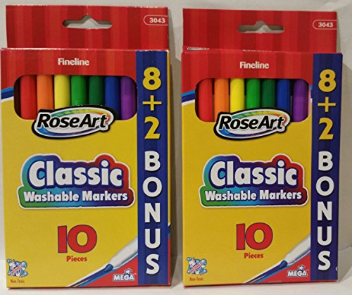 3043 Rose (RoseArt Classic Washable Fineline Markers (3043), 8 + 2 Bonus Markers, 2 Pack Set / 20 Markers Total)