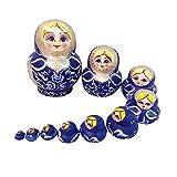 Set of 10pcs Blue Painted Wooden Nesting Dolls Matryoshka Russian Doll Kids Gift
