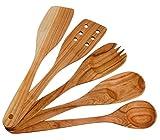 Handmade Utensil Set. Wooden Cute Kitchen Utensils 12''/30 cm. Cherry Wood Kitchen Supplies & Utensils Set of 5