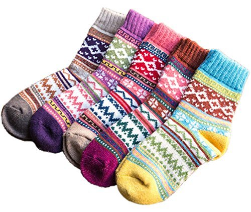 Cashmere Socks - Amberzina Womens Vintage Winter Autumn Spring Warm Wool Ankle Athletic Socks for Women Wool Cashmere Crew Novelty Socks Retro Inspired Knit Thick Christmas Cotton Soft Cozy Fuzzy Socks-A