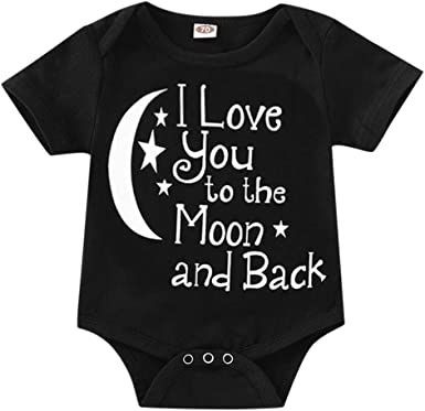 Bodysuits Clothes Onesies Jumpsuits Outfits Black I Love You to The Moon and Back1 Baby Pajamas