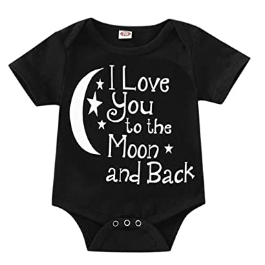 aeb8bf86f40 Amazon.com  Cuekondy Toddler Baby Girl Boy 2019 Fashion I Love You To The  Moon Letter Print Summer Short Sleeve Romper Jumpsuit  Clothing