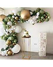 DIY Balloon Arch Kit Olive Green White Balloon Garland Kit-149pcs Avocado Green, White And Metallic Chrome Gold Balloons For Baby&Bridal Shower, Birthday Party, Wedding, Grad, Anniversary Party