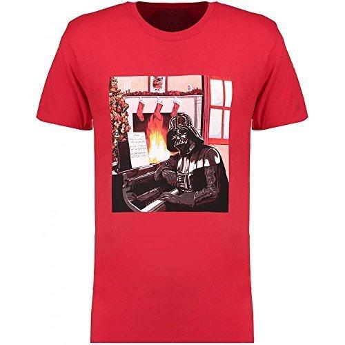 STAR WARS- Darth Vader Navidad Escena - Camiseta Oficial Hombre - Rojo, Small