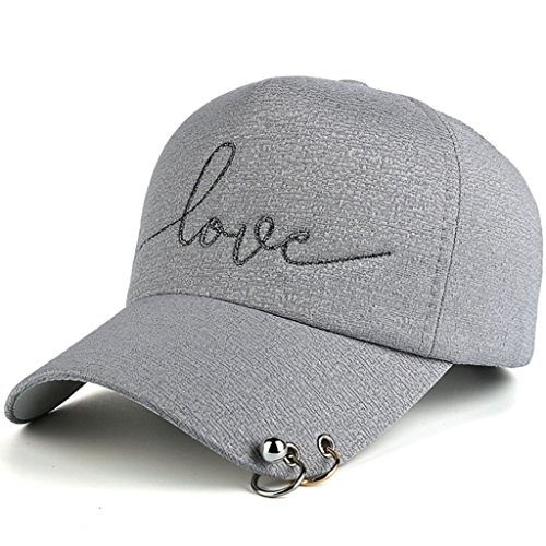 AKIZON Adjustable Baseball Cap Love Embroidery Plastic Strap & Metal Rings For Women (Grey) (Pink Vintage Womens Camo)