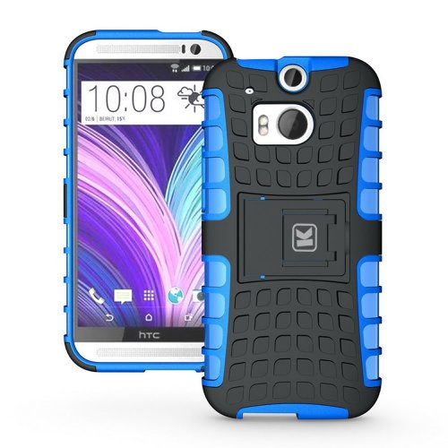 KAYSCASE ArmorBox Heavy Duty Cover Case for HTC One (m8) (HTC One+, HTC One Plus, HTC ONE 2, M8, the All New One) (Lifetime Warranty) (Blue)