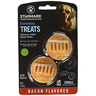 (3 Pack) StarMark Everlasting Bacon Dog Dental Chews, Small (2 Chews Per Pack / 6 Total)