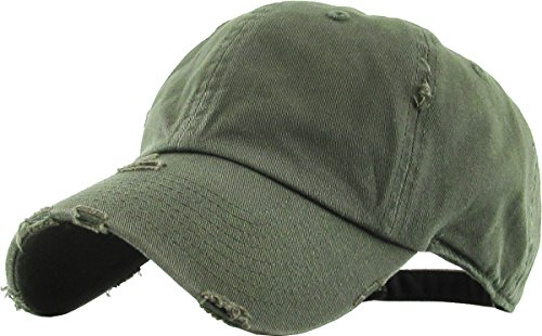 Mens Accessories Vintage Hats - KBETHOS Vintage Washed Distressed Cotton Dad Hat Baseball Cap Adjustable Polo Trucker Unisex Style Headwear (Vintage) Olive Adjustable