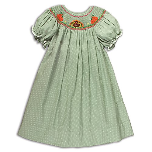 Rosalina Girl's Turkey Pumpkin Moss Green Hand Smocked Fall Bishop Dress 5Y