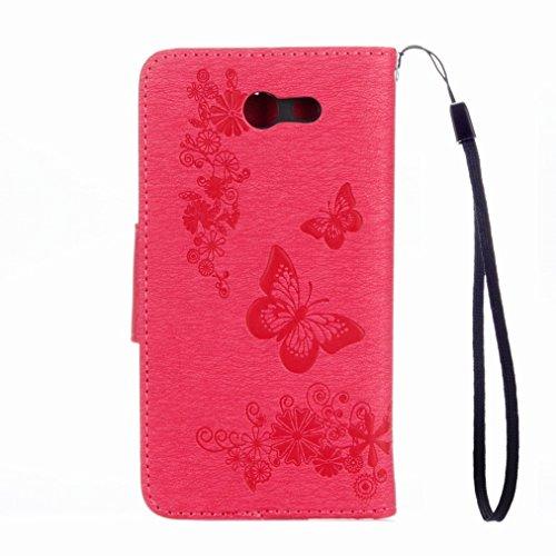 Yiizy Samsung Galaxy J5 (2017) Custodia Cover, Farfalla Design Sottile Flip Portafoglio PU Pelle Cuoio Copertura Shell Case Slot Schede Cavalletto Stile Libro Bumper Protettivo Borsa (Rose Red)