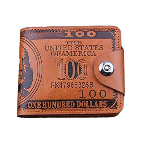 Tefamore US-Dollar Bill Geldbörse braun Leder Geldbörse Bifold Credit Card Photo