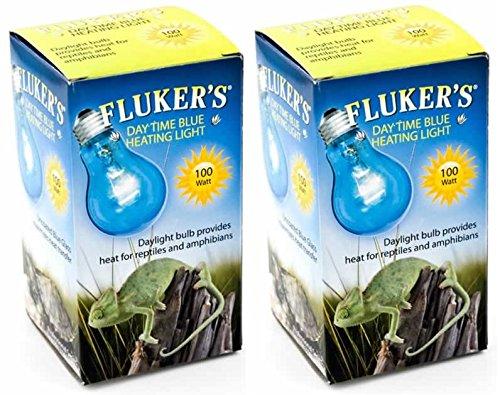 (2 Pack) Fluker Labs Reptile Incandescent Daylight Bulb for Pet Habitat, 100-watt, Blue