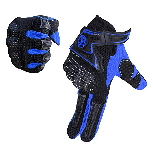 SCOYCO Motorcycle gloves,with Microfiber Hard Knuckle,Breathable,Portable,Powersports,Motorbike,Scooter,Motorcycle Glove.(BLUE,L)