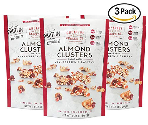 Creative Snacks Naturally Delicious Almond Clusters with Cranberries and Cashews, 3 Pack, 4 Ounce Resealable Bags