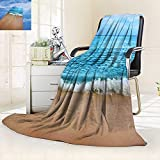 vanfan Soft Warm Cozy Throw Blanket Collection India Andaman Islands Calm Sea Soft Sand Beach Summer Photography Accessories,Silky Soft,Anti-Static,2 Ply Thick Blanket. (90''x90'')