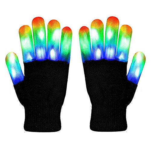 Aolvo Led Light Up Gloves, Creative LED Finger Warm Gloves with 6 Modes 3 Color Flashing Rave Gloves Halloween Christmas Costume Cosplay Party Favors (1 Pair)