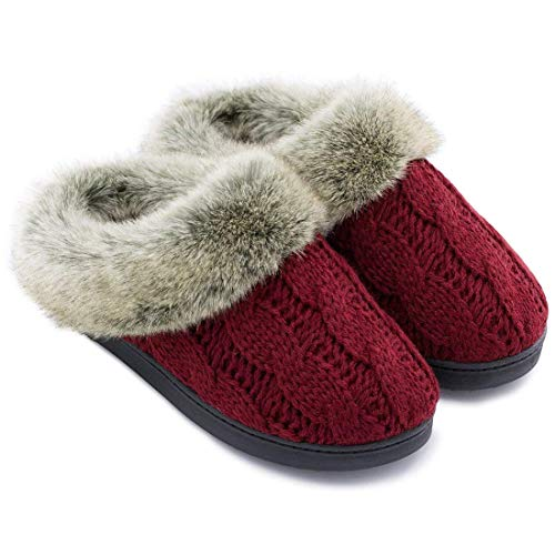Women's Soft Yarn Cable Knitted Slippers Memory Foam Anti-Skid Sole House Shoes...
