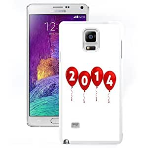 DIY and Fashionable Cell Phone Case Design with Happy New Year 2014 Party Balloons Galaxy Note 4 Wallpaper in White
