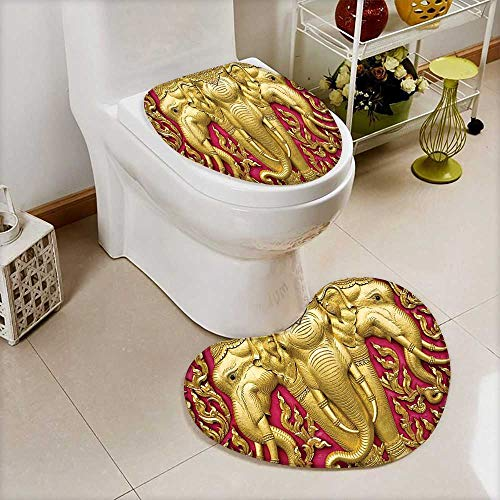 Large Contour Toilet Mat Elephant Carved Gold Paint on Door Thai Temple Spirituality Statue Classic Image Magenta Non-Slip Microfiber Bathroom mat Anti Skid by L-QN