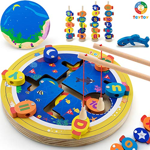 teytoy My First Magnetic Wooden Fishing Game Toy, ABC Alphabet Color Sorting Puzzle Catching Counting Fish Board Games ,Montessori Toys Letters Cognition Preschool Gift for 3 4 6 Years Old Girl Boy