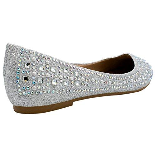 Bella Marie Angie-53 Femmes Classique Pointu Toe Ballet Slip On Appartements Chaussures Premier Argent