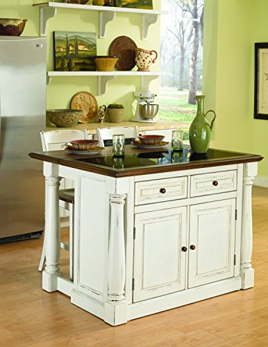 (Monarch White Kitchen Island with Granite Top & 2 Stools by Home Styles )