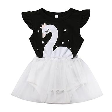 1db29e2b22f Amazon.com  Winagainer Toddler Baby Girl Swan Star Print Tulle Tutu Romper  Bodysuit Dress Flutter Sleeve Birthday Outfits  Clothing
