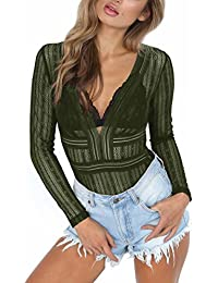 Women's Sexy Lace Sheer Long Sleeve V Neck Backless Bodysuit Jumpsuit Clubwear Tops