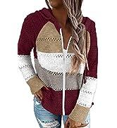 BTFBM Women Zip Up Striped Hoodies Jackets Color Block Print Long Sleeve Drawstring Stretchy Casu...