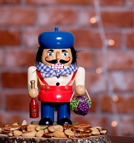 Traditional Wooden Chubby Italian Nutcracker by Clever Creations | Wine Bottle and Basket of Grapes | Festive Christmas Decor | 7'' Tall Perfect for Shelves and Tables by Clever Creations (Image #3)