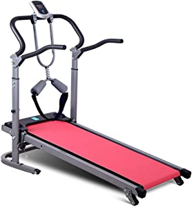 HSART 4 in 1 Foldable Treadmill, Mechanical Walking Machine with Adjustable Incline for Home Gym(Pink)