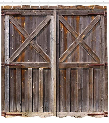 Ambesonne Rustic Shower Curtain, Old Wooden Barn Door of Farmhouse Oak Countryside Village Board Rural Life Photo Print, Cloth Fabric Bathroom Decor Set with Hooks, 70