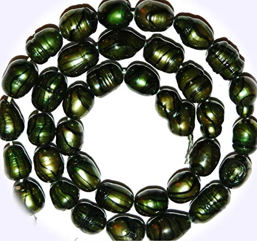 New Emerald Green w Black 8mm - 9mm Cultured Freshwater Rice Pearl Jewelry-Making Beads DIY Craft Supplies for Handmade Bracelet Necklace