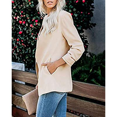 Soulomelody Women Blazers Casual Jackets 3/4 Sleeve Ruched Work Office Open Front Light Suits at Women's Clothing store