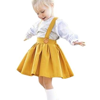 Niña bebé Vestido,Sonnena ❤ ❤ ❤ Color sólido Correa Verano de Verano Elegante y Moda Ropa de Deportes al Aire Libre para Chica Joven Recien Nacido ...