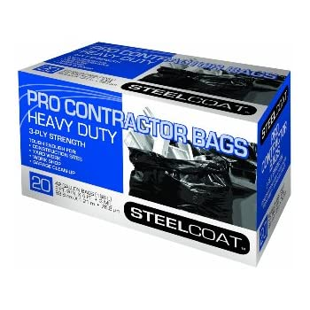Petoskey Plastics 94105 Steelcoat Heavy Duty Pro Contractor Trash Bags, 42-Gallon, Black, 20-Pack
