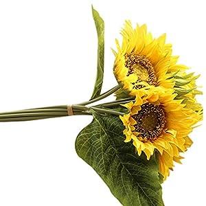 Hot Sale!!Woaills Fake Silk Artificial 7 Heads Sunflower Flower Bouquet Floral Garden Home Decor (Yellow) 75