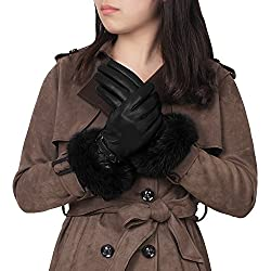 GSG Womens Luxury Italian Genuine Nappa Leather Gloves Fashion Fur Trim Full Palm Touchscreen Winter Warm Gloves Black 8