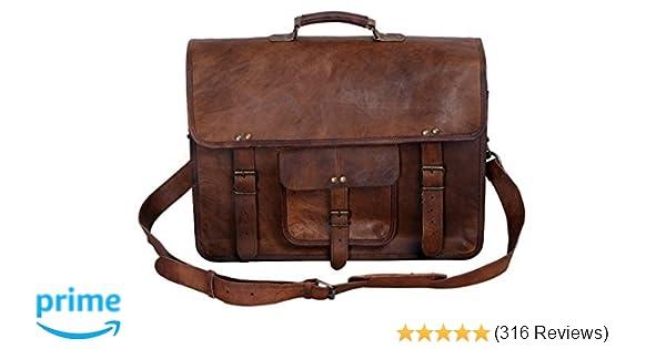 0a3770c833d8 Amazon.com  KPL 18 Inch Vintage Men s Brown Handmade Leather Briefcase Best Laptop  Messenger Bag Satchel  Computers   Accessories