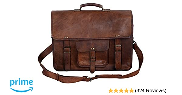 f162fdc0e2 Amazon.com  KPL 18 Inch Vintage Men s Brown Handmade Leather Briefcase Best  Laptop Messenger Bag Satchel  Computers   Accessories