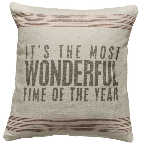Primitive Style Its the Most Wonderful Time of the Year Throw Accent Pillow Imported 18649