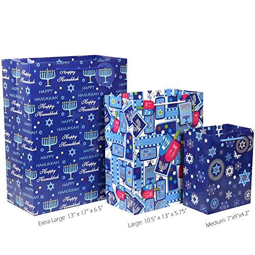 Hanukkah Gift Bag Set, Fzopo 12 Pieces Premium Quality Assorted Sizes Paper Bags with Tags, 4 Extra Large, 4 Large, 4 Medium (6 Happy Hanukkah Designs)