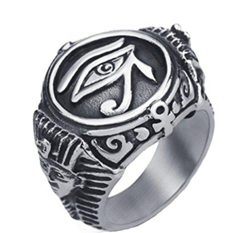 AccessCube Unisex Antique Stainless Steel Egyptian Pharaohs Eye of Horus Ra Udjat Silver Tone Ring (Silver, 7)