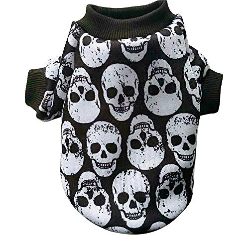Hpapadks White Skull Pet Sweater,Pet Puppy Small Dog Cat Pet Clothes Skull Apparel T-Shirt Clothes,Pet Clothes for Puppy