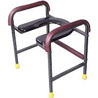 Leichter Toilettenstuhl, klappbarer medizinischer Duschstuhl, schwer - Höhe von 30-50 cm einstellen, doppelte Armlehnen, geeignet für Behinderte, altere, Schwangere